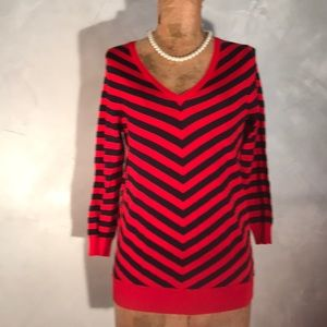 Limited Navy/Red Chevron Stripes Sweater G2
